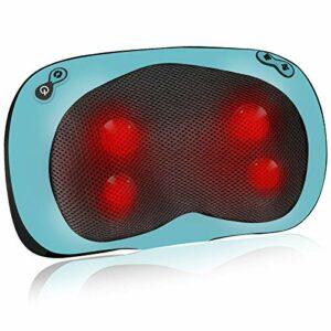 Esseason Coussin de massage cervical et dorsal avec 4 boutons, coussin cervical avec fonction de chaleur pour détendre le cou, les épaules lombaires et les jambes