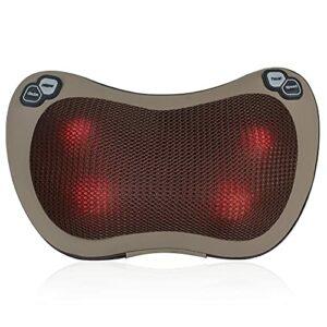 Esseason Coussin de massage Shiatsu 3D, avec 4 boutons de réglage, chauffage à infrarouge, réglage du sens de rotation des têtes de massage et réglage de la vitesse sur 3 niveaux différents