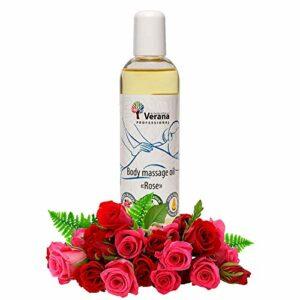 Huile de massage Verana, Rose, Huile cosmétique naturelle pour le corps, Pour tous types de peau, Anti-stress, Anti-cellulite, Anti-âge, Aromathérapie 250 ml