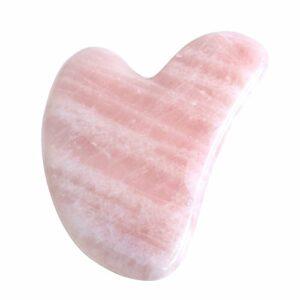 JOVIVI Gua Sha Scraping Outil de Massage Naturel Quartz Rose Aventurine Forme de Coeur Guasha Board pour Acupuncture Thérapie (Quartz Rose)