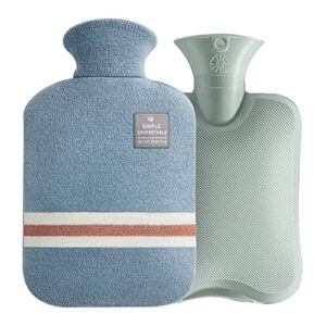 KoelrMsd Sac à Main Chaud portatif et Couverture en Tissu de Blocage des Couleurs bouillotte avec Housse en Flanelle Sac en PVC Chaud d'hiver