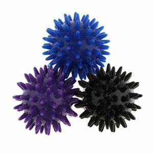 MagiDeal 3pcs Boule de Massage Spikey Balle à Picots Masseur Pieds, Dos, Epaules, Bras Soulagement du Stress Réflexologie Acupression – Violet Noir Bleu, 6cm