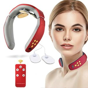 Masseur cervical, Masseur cervical intelligent , Masseur de nuque portable, Masseur cervical de voyage électrique comprenant 4 modes, Appareil Massage Dos et Nuque,Massage et Relaxation (Red-2)
