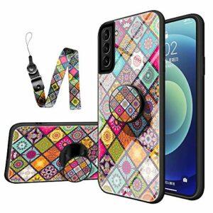 Nadoli Verre Coque pour Samsung Galaxy S21 Plus,Rétro Fleur Floral Désign Antichoc 9H Verre Trempé Difficile Retour Housse avec Support de Bague et Nuque Dragonne
