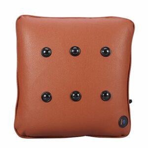 Oreiller de massage électrique, Oreiller de massage du dos en coton doux – Recharge USB – Coussin de massage du dos pour soulager la douleur et détendre la fatigue des muscles [PU marron]