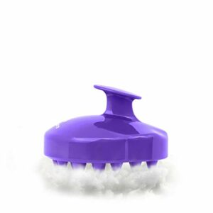 PHILORN Masseur Tête Brosse de Massage Cuir Chevelu Peigne en Silicone Souple pour Relaxation de la Tête Shampoing Exfolie et Retire les Peaux Mortes (Violet)