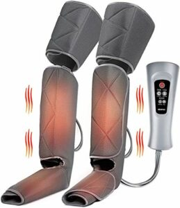 RENPHO Masseur de jambe avec chaleur, massage des pieds de cuisse de mollet de compression, conception d'enveloppes réglables, avec 6 modes 3 intensités, cadeau pour détendre le muscle des jambes