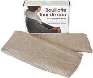 Revolana Bouillotte sèche Tour de Cou en graines de Lin Bio – 72x15cm – Housse Amovible 100% Lin