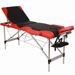 Table de Massage Pliante Professionnel en Aluminium, Lit Cosmétique 3 Sections Massage Portable Ergonomique, Noir avec Bord Rouge