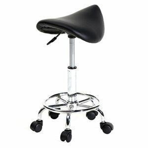 Tabouret Ergonomique à Roulettes, Tabouret de Massage Rotation à 360°Hauteur Réglable 51-65 cm, pour Salon de Massage, Bureau, Clinique