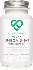 Vegan Omega 3-6-9 avec de l'huile d'algues par LLS | 60 gélules – 30 portions | Huile d'algues, huile d'olive, huile d'onagre, huile CLA, vitamine E