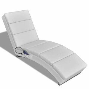 vidaXL Chaise Massage Electrique Blanc Lit de Massage Chaise de Relaxation