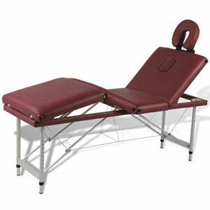 vidaXL Table de Massage Pliante Lit de Massage 4 Zones Rouge Cadre Aluminium Sac
