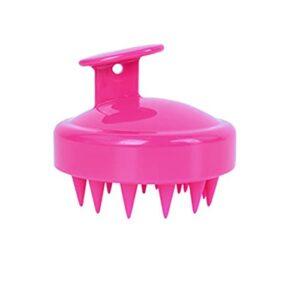 xingguang Brosse de massage portable en silicone pour le cuir chevelu – Brosse de massage pour laver la douche – Brosse de nettoyage pour les cheveux – Rouge
