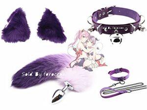 Adulte Tóys Flǐrtíng Erọtǐc Cosplay Kit Débutant Cosplay Kit Exécution Exquise Fluffy B-ütt P-l-ǔ-g Fox Tail Plush Set, Fox Cat Ears avec Maid Anime Chai Collar Choker-Size-M
