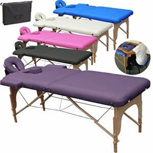 Beltom Table de Massage 2 Zones Portables Cosmetique lit esthetique Pliante Reiki + Sac – Violet
