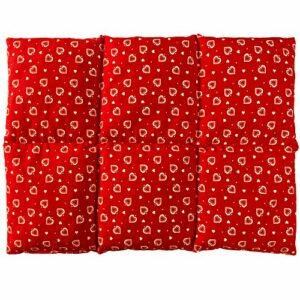 Coussin aux graines de lin 40×30 – Compresse chaud ou froid – Grande bouillotte sèche – Coussin thermique (6 compartiments; Design: Rouge avec des coeurs)