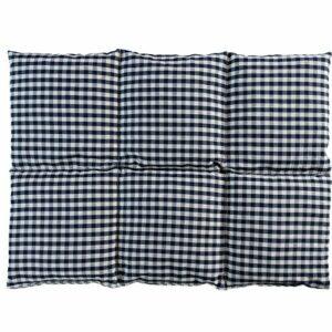 Coussin aux noyaux de cerises 40×30-6 compartiments – Bleu et Blanc – Coton Bio – Coussin thermique – Coussin aux graines – Bouillotte sèche – Compresse froide
