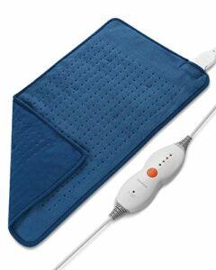 Coussin Chauffant Electrique 30 x 60 cm pour le Dos les Épaules, la Nuque et le Cou Surface Ultra-moelleuse Chauffage Rapide avec 4 Niveaux de Température Réglable pour Détendre les tensions (Bleu)