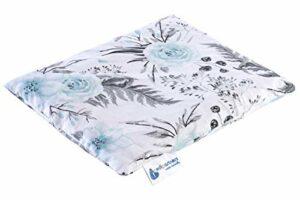 Coussin chauffant en noyaux de cerise 500 g rectangulaire 20 x 25 cm 100% coton certifié Öko-Tex Medi Partners Chaleur + thérapie par le froid Thérapie de massage (Fleurs grises)