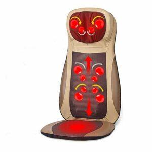Coussin de massage pour fauteuil – Noir/beige – Avec fonction chaleur et vibration – Pour le cou et le dos – Couleur : beige