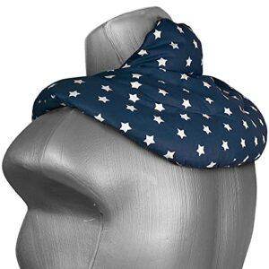 Coussin de nuque avec col montant – Coussin aux graines de lin – Coussin épaules et cou – Bouillotte pour cervicales (Design: bleu étoilé)