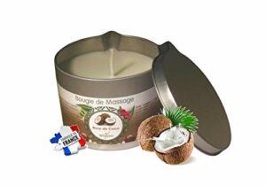 déliktess® – Bougie de massage Végétale à la Noix de Coco 175 ml – Fabriquée en France