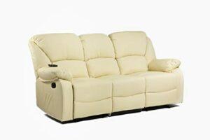 ECODE Canapé 3 places inclinable avec massage par ondulation vibrante, chaleur lombaire, similicuir ECO-8590/3 beige