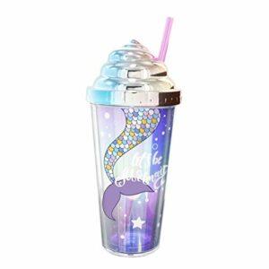 enemy Creative Summer Cup Straw avec étanchéité Couverture, Timbale Double Couche avec des Motifs de sirène, Cadeau d'anniversaire de Noël (Color : B)
