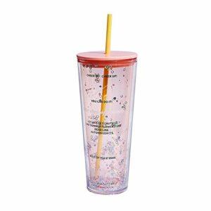 enemy Lovely Girls Straw Cup, Timbale Froide en Plastique, jus de Lait glacé Thé Bouteille de Paille, Tasse de café Durable Drinkware (Capacity : 720ml, Color : Pink)