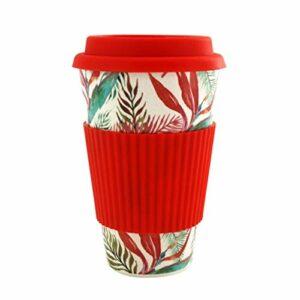 enemy Tasse de café Portable avec Couvercle en Silicone, Durable thé Tasse de café, Eau Potable Voyage de Paille de blé Tasse (Color : Red)