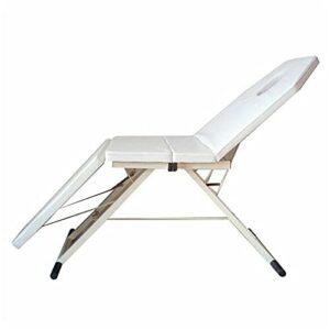 Fetcoi Table de massage mobile – En PVC – 3 plis – Portable – Pour spa – Salon de beauté – Pliable – Blanc
