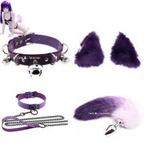 Forocean cadeau spécial oreilles de chat en peluche bandeau B-ü-t-t P-l-ǔ-g queue Halloween fête jouets Cosplay pour débutant-taille-M