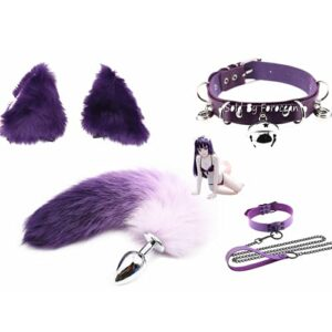 Forocean Novel Design Furry T-a-i-l Cheveux Oreille + Collier pour Sè'x-y Lady Pl-ùg Lovers Exercice Jouets Débutant Cosplay Kit Party Props-Size-S