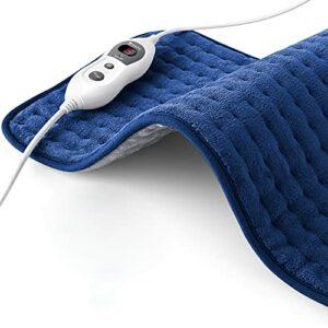 Hosome Coussin chauffant avec arrêt automatique 120 minutes et 6 niveaux, 60 x 30 cm, coussin chauffant électrique pour le dos, le cou, les épaules, les pieds, avec chauffage rapide 30 s, bleu