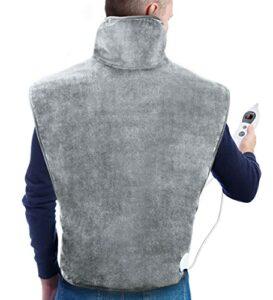 HOSOME Coussin Chauffant pour Le Dos,La Nuque, Le Épauleset Le Cou Surface Ultra-Moelleuse Chauffage Rapide avec 6 Température Réglable, gris