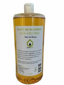 Huile de massage végétale parfumée FLEUR DE MONOÏ, 1 Litre, Purespa By Purenail, Livraison Gratuite en France