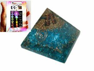 Jet International Exquis A ++ Chakra Bleu Orgone Pyramide Livret Gratuit Cristal Thérapie Cristal Pierres Précieuses Cuivre Métal Mix Rare