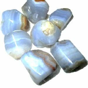 Jet International Wow Blue Lace Agate Tumbled Stone 100 Grams 1″ – 1.5″ Genuine A Grade W/ Velvet Pouch Superior Quality Original Gemstone Natural Polished Spiritual Psychic Healing Positive Energy