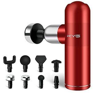 KYG Pistolet de Massage Musculaire Mini Massage Gun Portable pour Détendre les Muscles 8 Têtes et 4 Vitesses Ultra Silencieux Batterie Rechargeable USB, Rouge