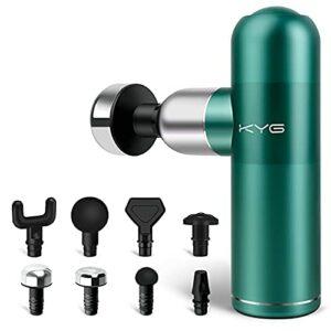 KYG Pistolet de Massage Musculaire Mini Massage Gun Portable pour Détendre les Muscles 8 Têtes et 4 Vitesses Ultra Silencieux Batterie Rechargeable USB, Vert
