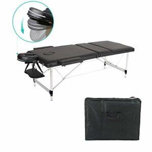 Lit de Massage Cosmétique Thérapie Pliante Portable Aluminium Hauteur Réglable (Noir)