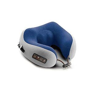 LZZB Masseur de Cou Shiatsu de Voyage à 4 Boutons ABC, Oreiller de Massage en Forme de U pétrissage électrique compresse Chaude Oreiller d'avion de Vibration Bureau à Domicile Bleu