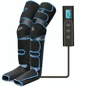 Masseur de jambes, compression d'air des jambes avec contrôleur portable 6 modes 3 intensités, masseur de jambes et de pieds rechargeable par USB pour massage mollet/cuisse/pieds
