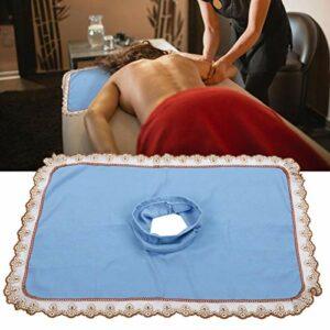 Nappe de massage, équipement pratique et pratique, couette avec trou, table de massage, table de massage, couverture en polyester, avec trou pour salon de beauté, barbier, boutique [Bleu]