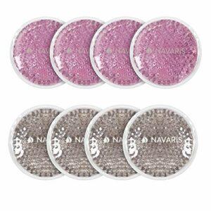 Navaris Pack 8x Compresse Chaud Froid – Lot Poche Perles Gel Chaud Froid Lavable Réutilisable – Patch Gel Compresse Congélateur Micro-ondes