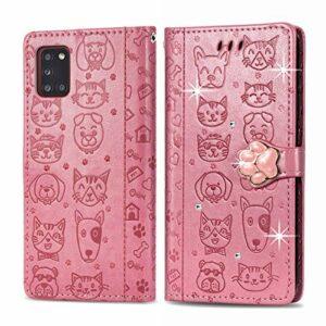 Oihxse Mignon Case Compatible pour Samsung Galaxy A10 Coque Housse Étui Cuir PU Portefeuille avec Carte Fentes Fonction Stand Motif Chat et Chien Brillant Glitter Diamant Cover,Rose
