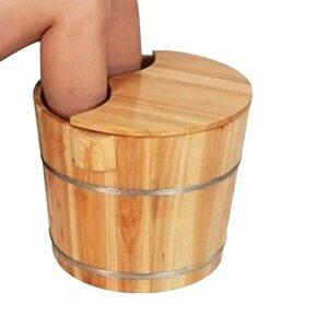 PXY N de Pieds de Santé Confortable (30Cm de Haut) Pieds de Trempage Seau de Pédicure Lavabo Domestique Grand Épaississement Tonneau de Pied En Pin Naturel Avec Couvercle Perles de Massage Pédicure S