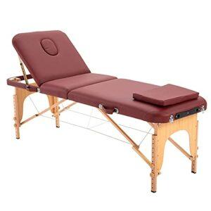 rénovation de la maison Table de massage pliante portative professionnelle, lit de massage en bois de 73 «, table à 3 zones avec 12 niveaux de hauteur réglable, table de tatouage multifonctionnel