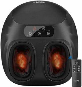 RENPHO Masseur de pieds chauffant avec télécommande, appareil de massage shiatsu des pieds avec réglages multi-niveaux de chaleur, de pression et de pétrissage, soulageant les muscles fatigués